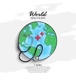 Manifesto di giornata mondiale della salute con globo e stetoscopio