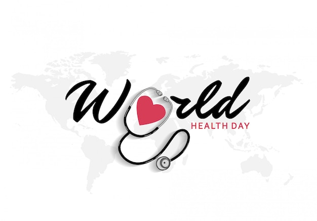 Manifesto di giornata mondiale della salute con stetoscopio e icona cuore rosso