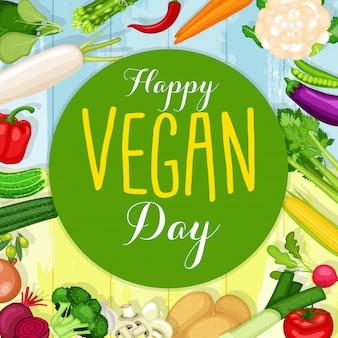 Manifesto di giornata mondiale vegano con sfondo di verdure design piatto