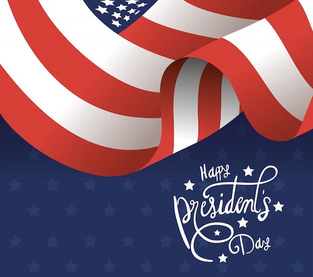 Manifesto di giorno di presidenti felice con la bandiera degli sua