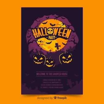 Manifesto di halloween con zucche in una notte di luna piena
