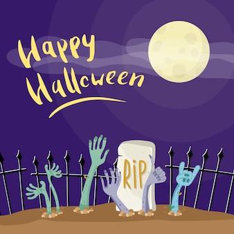 Manifesto di halloween felice con le mani di zombie