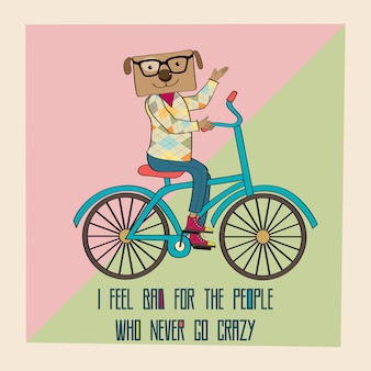 Manifesto di hipster con bici da equitazione cane nerd