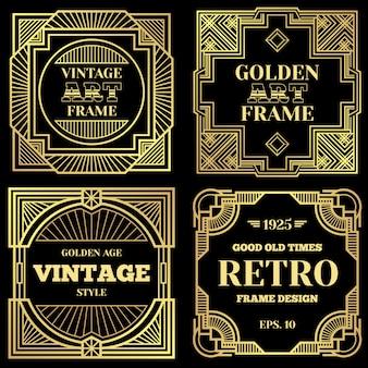 Manifesto di lusso con cornici dorate in stile art deco vecchio stile.