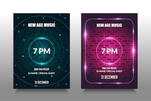 Manifesto di musica colorata con cerchio incandescente in mezzo.