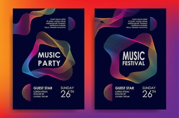 Manifesto di musica con elemento di linea colorata onde