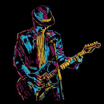 Manifesto di musica dell'illustrazione astratta di vettore del giocatore di chitarra
