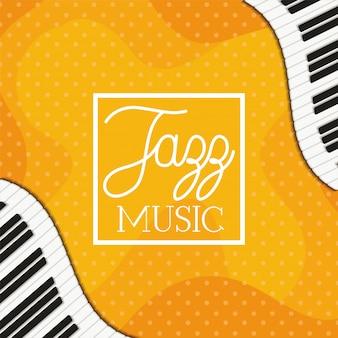 Manifesto di musica jazz con tastiera di pianoforte