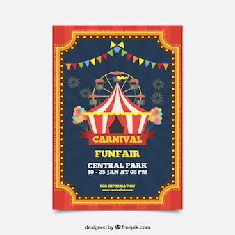 Manifesto di partito di carnevale piatto