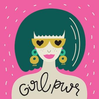 Manifesto di potere della ragazza con la donna alla moda e frase lettering