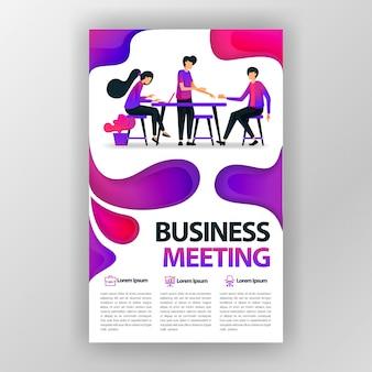 Manifesto di progettazione di riunione d'affari con l'illustrazione piana del fumetto.