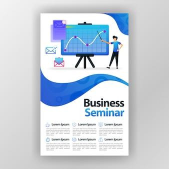 Manifesto di progettazione di seminario di affari con l'illustrazione piana del fumetto.