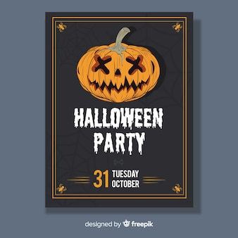 Manifesto di raccapricciante partito di halloween disegnato a mano