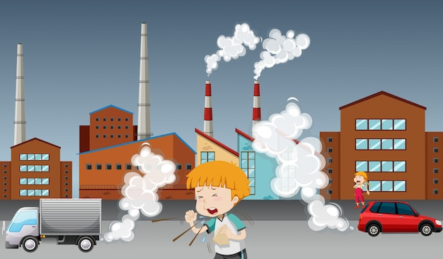 Manifesto di riscaldamento globale con bambino e fabbrica