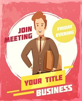 Manifesto di riunione d'affari con l'illustrazione di vettore del fumetto di simboli della data e dell'invito