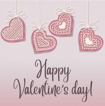 Manifesto di san valentino con biscotti cuore rosa