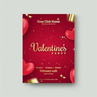 Manifesto di san valentino con i palloni rossi di amore 3d