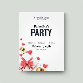 Manifesto di san valentino con un contenitore di regalo bianco