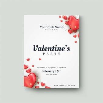 Manifesto di san valentino con un pallone rosso di amore 3d