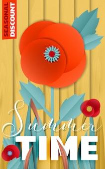 Manifesto di sconto di estate dai fiori di papavero di carta tagliati