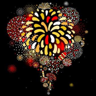 Manifesto di sfondo nero festivo fuochi d'artificio