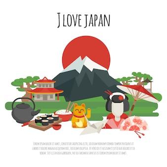 Manifesto di simboli di tradizione giapponese