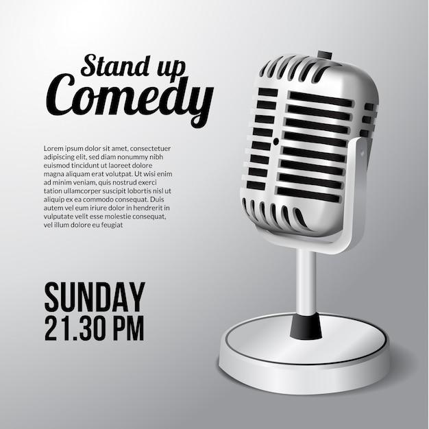 Manifesto di spettacolo teatrale in piedi microfono vintage per evento.
