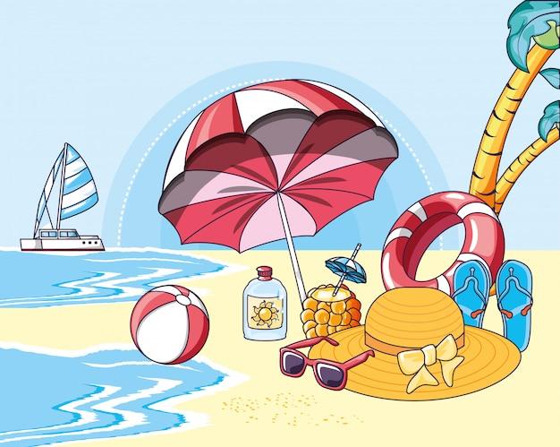 Manifesto di spiaggia estate con icone di vacanza