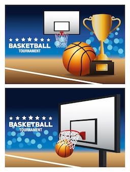 Manifesto di sport di basket con trofeo e cestino in tribunale
