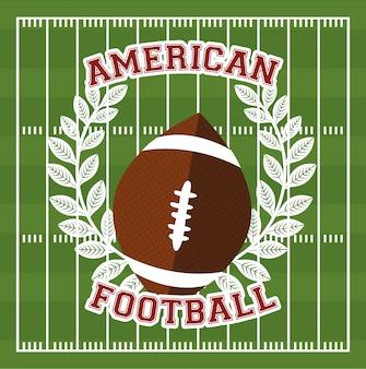 Manifesto di sport di football americano con l'illustrazione del pallone