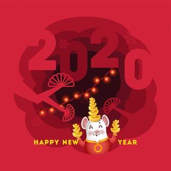 Manifesto di stile del taglio della carta o cartolina d'auguri con testo 2020, ratto del personaggio dei cartoni animati che tiene lingotto