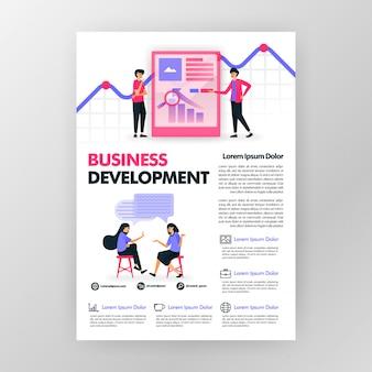 Manifesto di sviluppo di affari con l'illustrazione piana del fumetto. copertina di una brochure per opuscoli aziendali