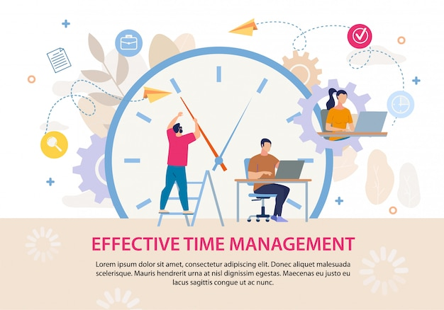Manifesto di testo pubblicitario efficace gestione del tempo