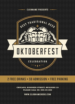 Manifesto di tipografia celebrazione festival di birra oktoberfest retrò
