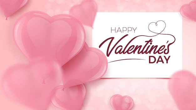 Manifesto di tipografia di rosy happy valentines day con palloncini a forma di cuore 3d offuscati rosa