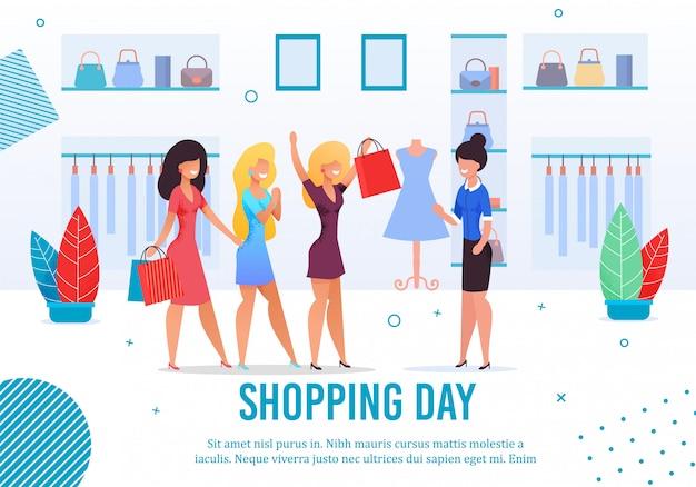 Manifesto di tradizione di amici femminili giorno dello shopping