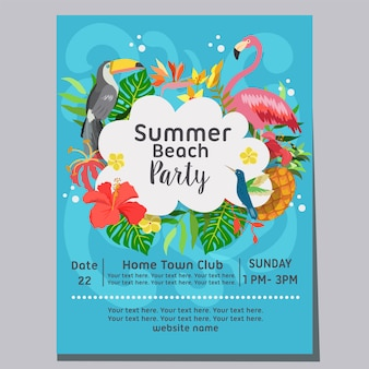Manifesto di vacanza a tema tropicale festa in spiaggia estate