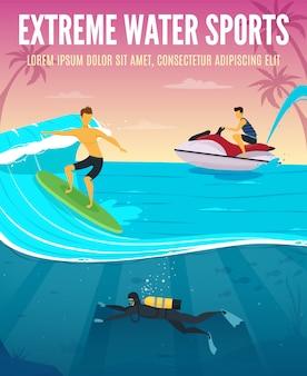Manifesto di vacanza tropicale di composizione piana di sport acquatici estremi