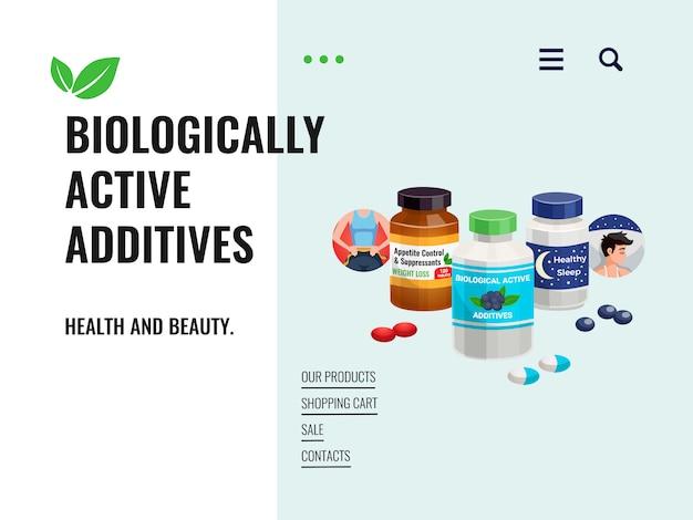 Manifesto di vendita che rappresenta gli additivi biologicamente attivi con gli ingredienti naturali e l'illustrazione pulita del fumetto delle componenti di ecologia
