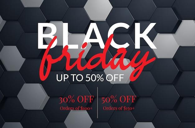 Manifesto di vendita del black friday. banner evento sconto commerciale