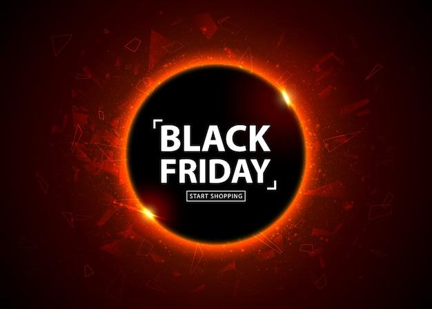 Manifesto di vendita del black friday. banner sconto stagionale, posto per il testo. cerchio colorato incandescente con effetto luce rossa su sfondo astratto nero. modello di progettazione per lo shopping, closeout, flyer, cartellone
