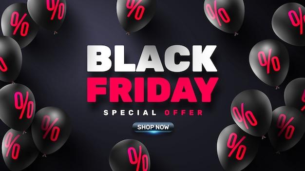 Manifesto di vendita del black friday con palloncini neri per la vendita al dettaglio
