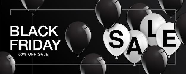 Manifesto di vendita del venerdì nero con palloncini lucenti