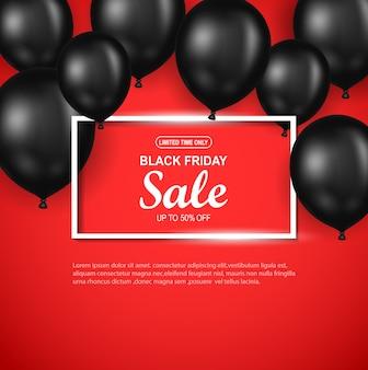 Manifesto di vendita di black friday con palloncino nero su sfondo rosso.