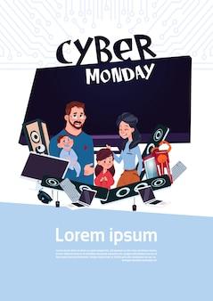 Manifesto di vendita di cyber lunedì con famiglia felice sopra il plasma della tv e dispositivi moderni, acquisto in linea di festa