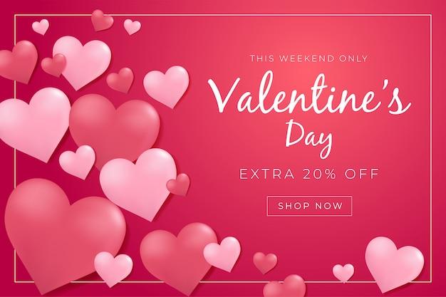 Manifesto di vendita di san valentino con cuori 3d.