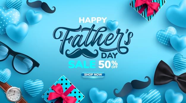 Manifesto di vendita festa del papà con flatlay di occhiali, cravatta, orologio e regali per papà.