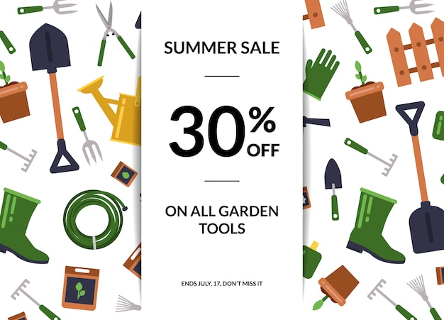 Manifesto di vendita icone giardinaggio piatto