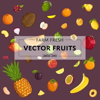 Manifesto di vettore di frutta fresca di fattoria