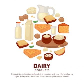 Manifesto di vettore di prodotti alimentari di latte e prodotti lattiero-caseari